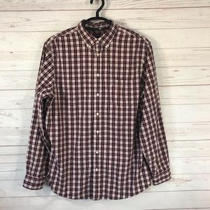 Lands' End Red Plaid Button Front Shirt Large Tall